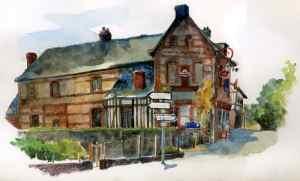 Epicerie d'Imbleville, aquarelle d'Estelle Meyrand